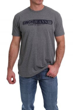 Cinch Mens Arctic Grey Logo Tee
