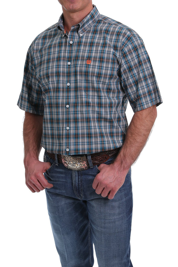 Cinch Mens Turquoise, Orange & White Plaid S/S Shirt