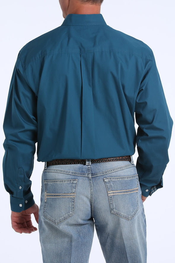 Cinch Teal Solid Button-Down Shirt