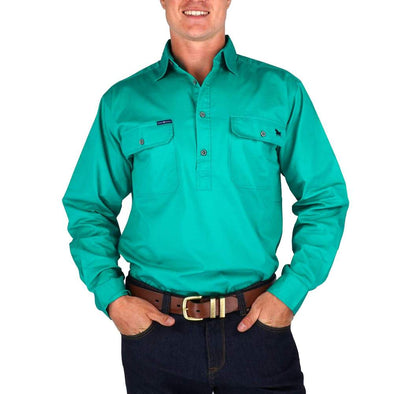 Ringers Western King River Half Button Work Shirt - Green