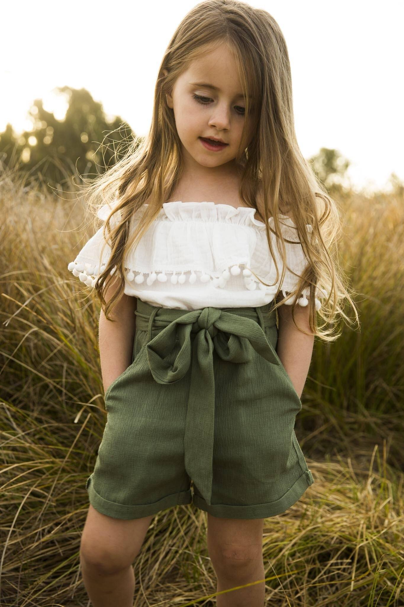 Girls Boho Pom Pom Top