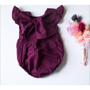 Summer Frill Romper. Mustard, Forest Green, Plum, Dusty Coral/Pink, Khaki & Earthy Red