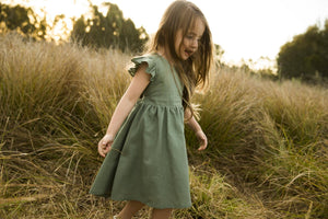 Summer Frill Dress, Plum, Rustic Red, Khaki, Forest Green, Dusty Coral & Mustard