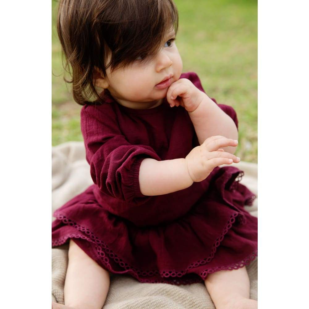 Plum Frill Romper Baby Dress - Childrens