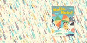 Hello, Rain book with illustrated raindrops