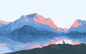 Illustration from Goodbye Phone, Hello World of figure overlooking a valley and lake