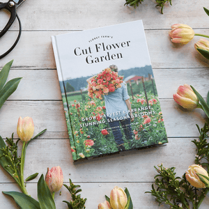 Floret Farm's Cut Flower Garden with tulips and garden shears
