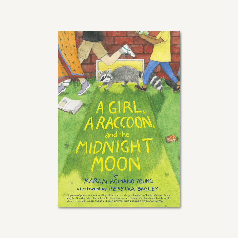 Middle-grade novel A Girl, a Raccoon, and the Midnight Moon, By Karen Romano Young, Illustrated by  Jessixa Bagley