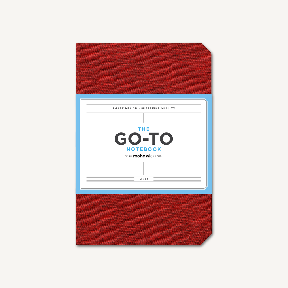 Go-To Notebook with Mohawk Paper, Brick Red Lined