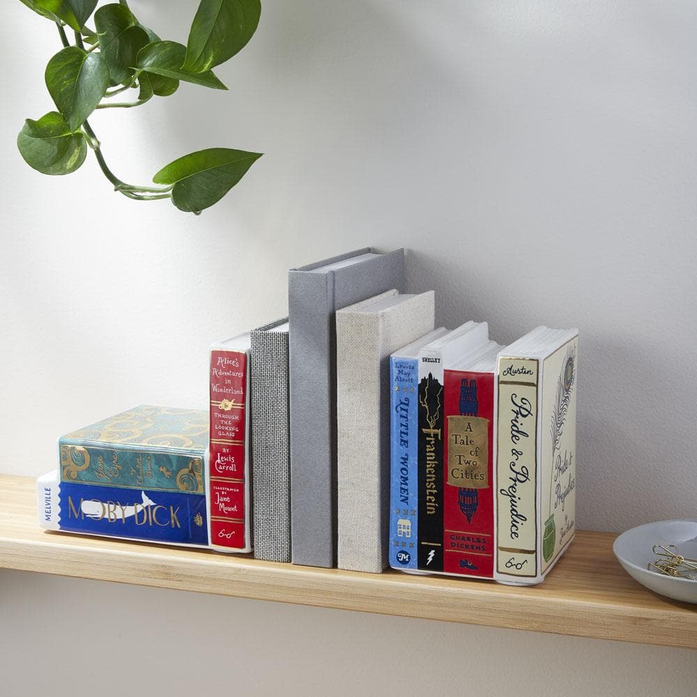 Bibliophile Ceramic Bookends on shelf with books