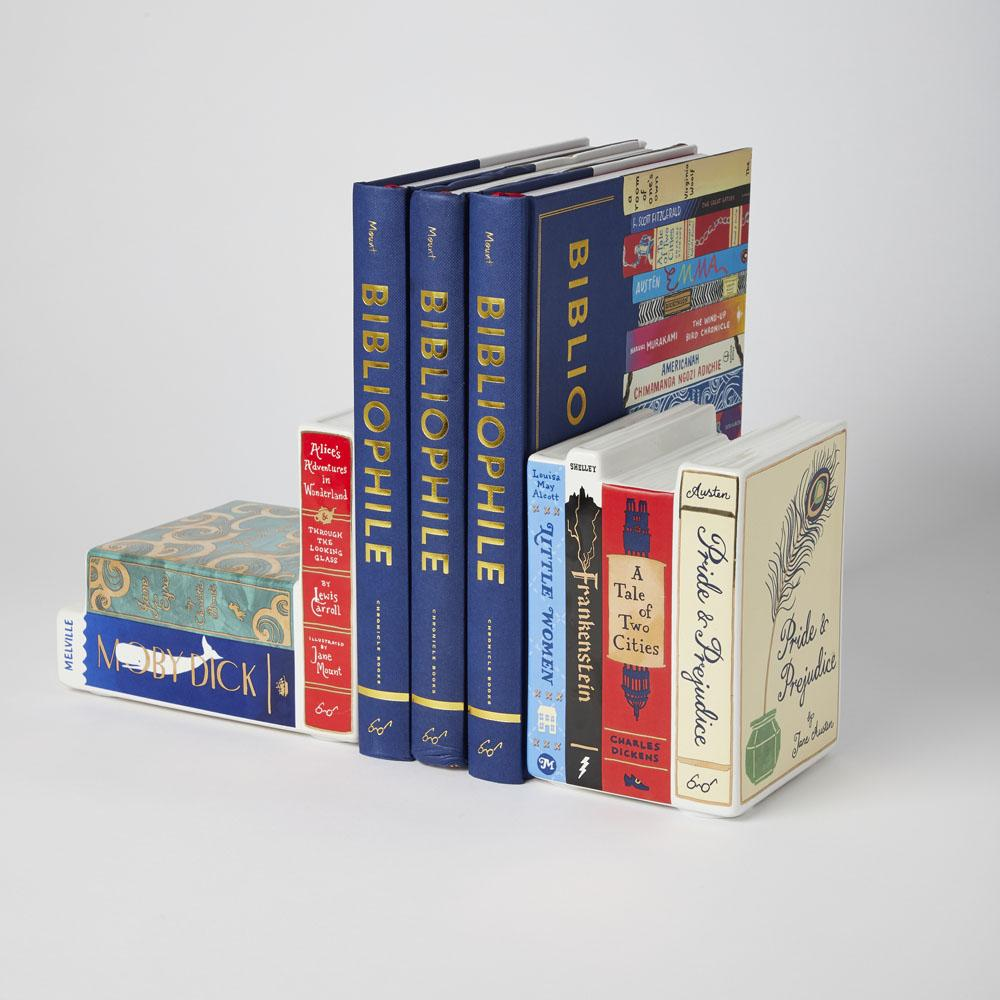 Bibliophile Ceramic Bookends with Bibliophile book