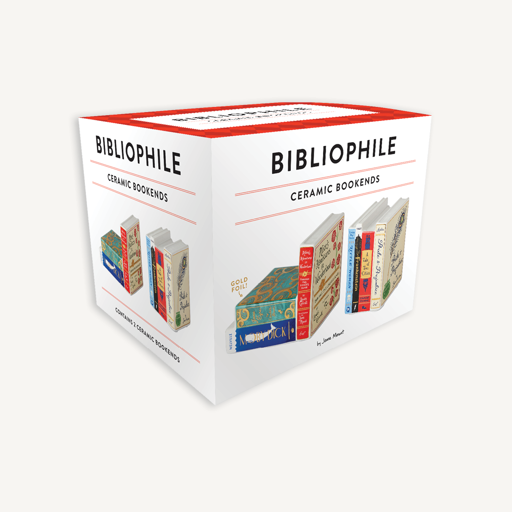 Bibliophile Ceramic Bookends box