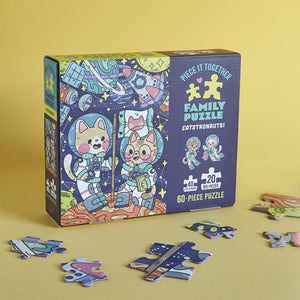 Piece It Together Family Puzzle: Catstronauts! with puzzle pieces