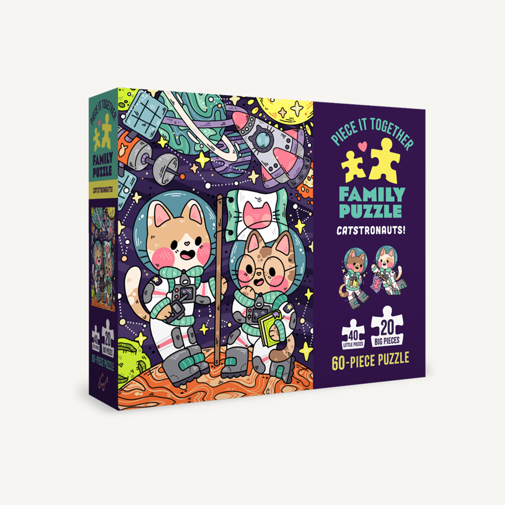 Piece It Together Family Puzzle: Catstronauts! 60 piece jigsaw puzzle