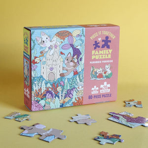 Piece It Together Family Puzzle: Purrmaid Paradise with puzzle pieces