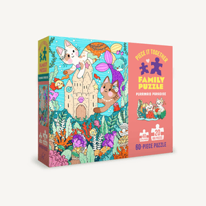Piece It Together Family Puzzle: Purrmaid Paradise 60 piece jigsaw puzzle
