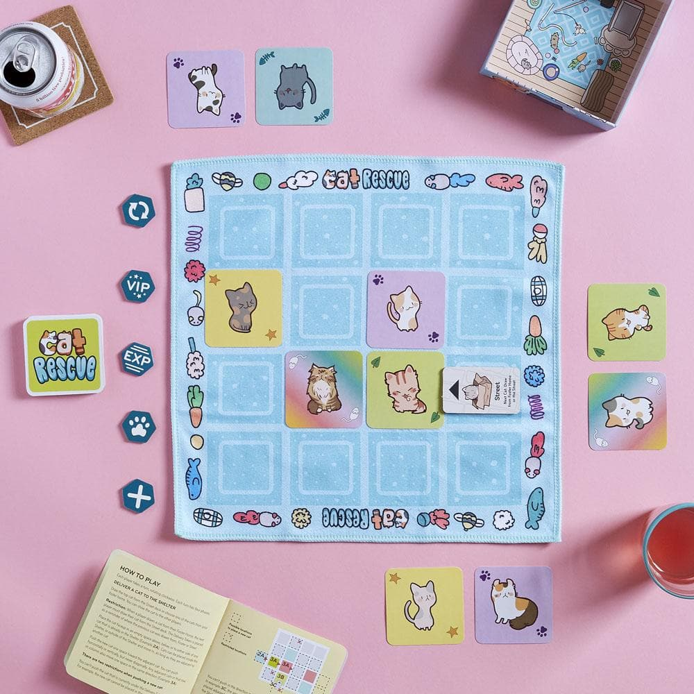 Cat Rescue game board and pieces