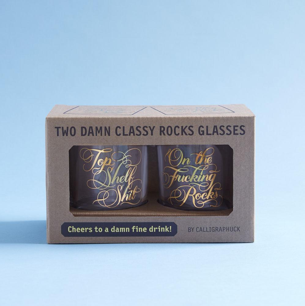 Two Damn Classy Rocks Glasses in packaging