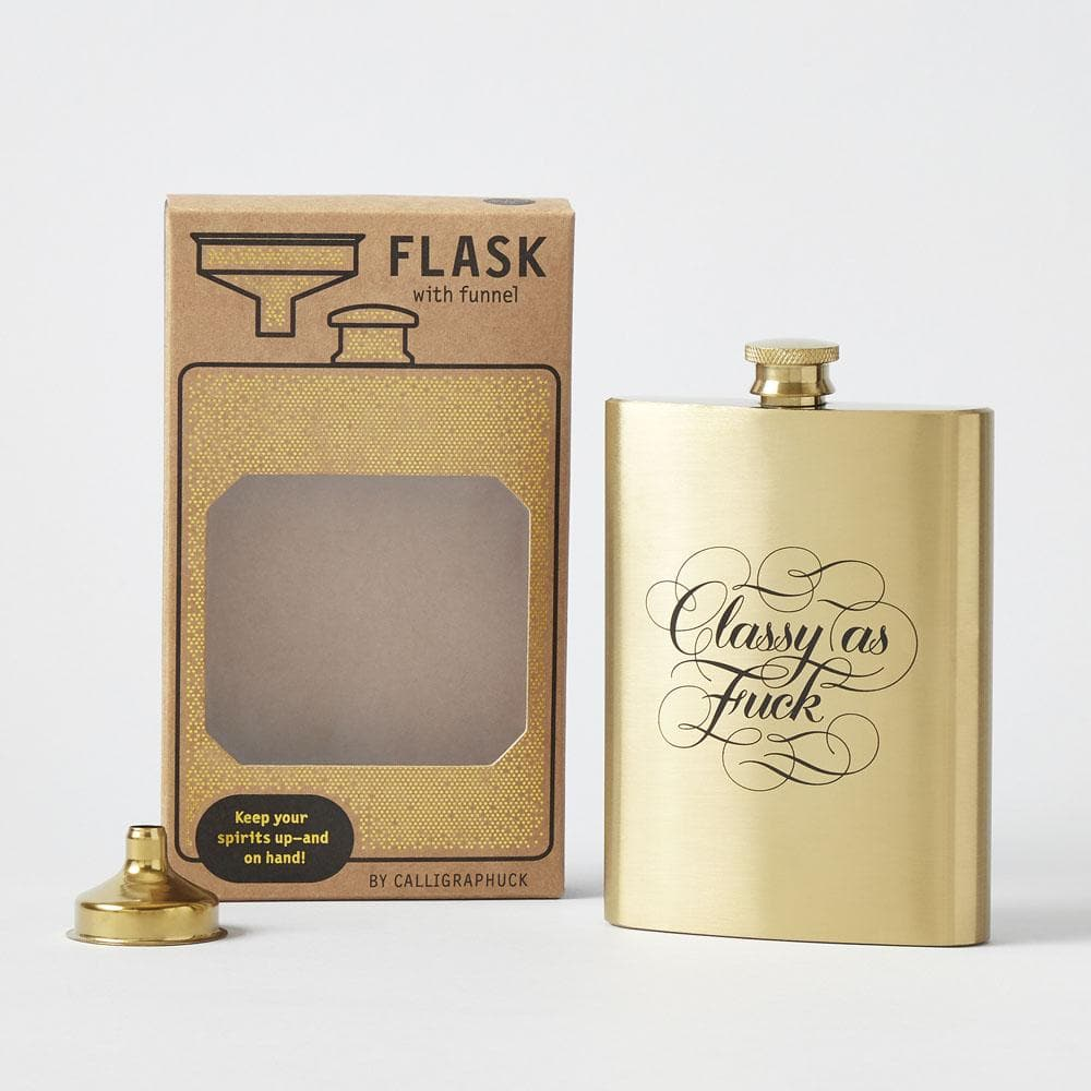Classy as Fuck Flask with flask, box and funnel