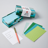 LEGO Note Brick (Blue-Green) with open box and fanned out note sheets