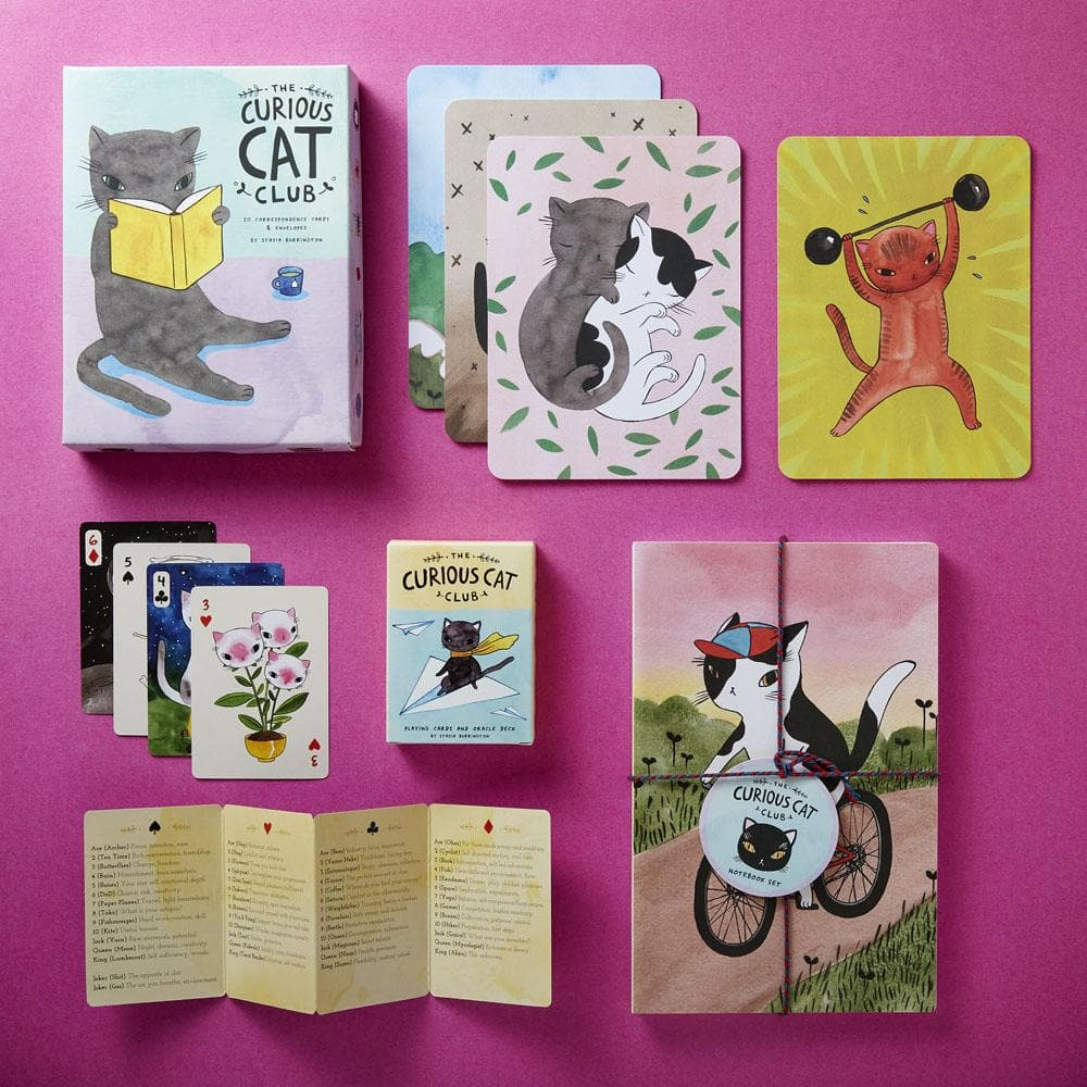 The Curious Cat Club Correspondence Cards with Curious Cat Deck and notebooks