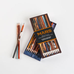 Mars Metallic Colored Pencils with open box and three pencils