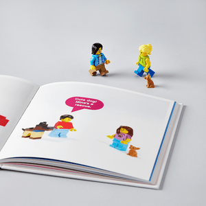 LEGO Small Parts book with minifigures and open pages