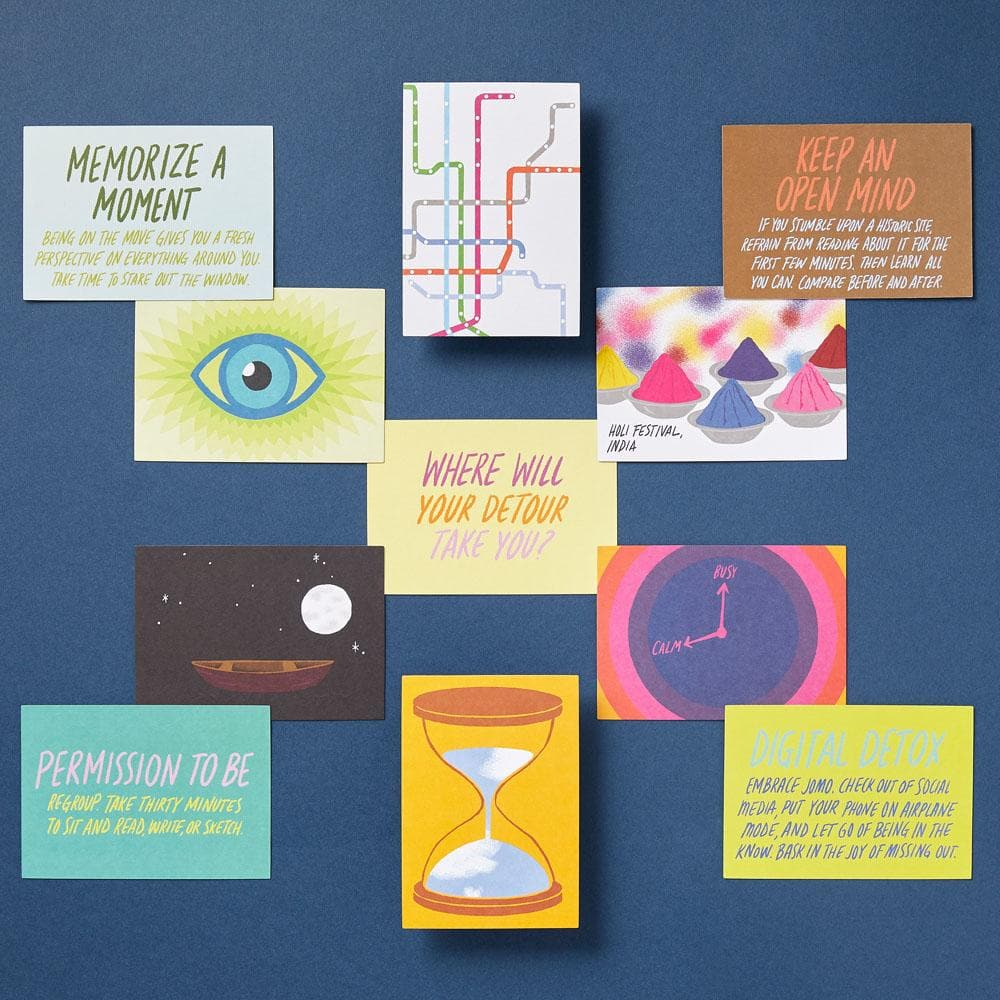 Detours cards on a blue background