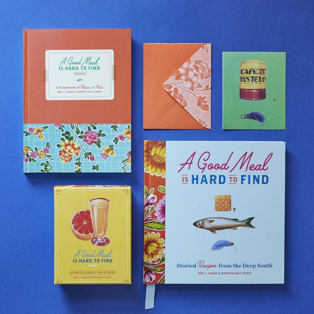 A Good Meal Is Hard book with matching notecards and journal