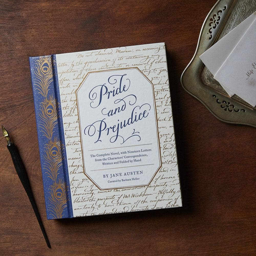 Pride and Prejudice with letter tray and nib pen