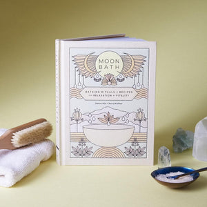 Moon Bath, Bathing Rituals and Recipes for Relaxation and Vitality, with bath accessories and crystals