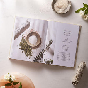 Moon Bath, Bathing Rituals and Recipes for Relaxation and Vitality interior with sage, flowers and salt