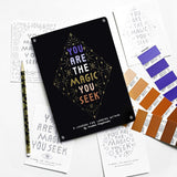 You Are the Magic You Seek with pencil, paint swatches and journal pages