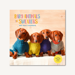 Baby Animals in Sweaters 2021 Wall Calendar