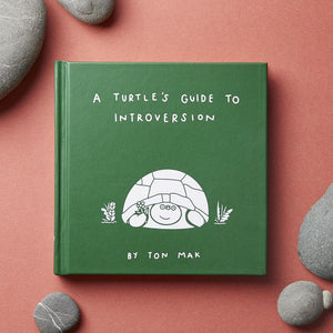 A Turtle's Guide to Introversion cover on orange background with gray river stones