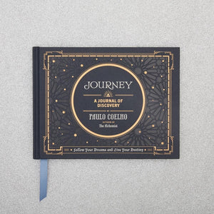 Journey A Journal of Discovery Follow Your Dreams and Live Your Destiny BY PAULO COELHO on silver background