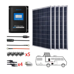 ACOPOWER 500W 12V  Poly Solar RV Kits, 40A MPPT Charge Controller