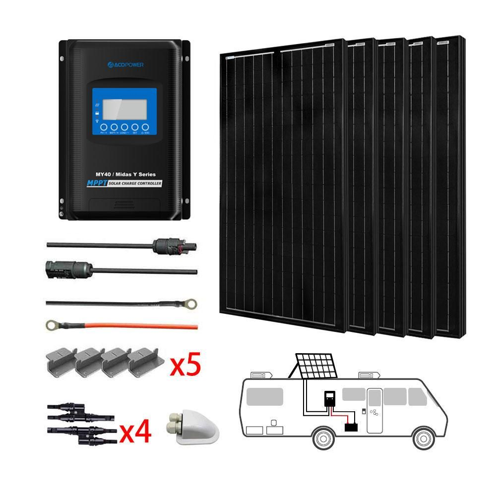ACOPOWER 500W All Black Mono Solar RV Kits,  40A MPPT Charge Controller