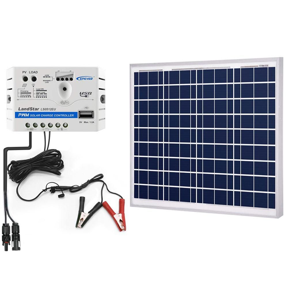 ACOPOWER 50W 12V Solar Charger Kit, 5A Charge Controller with Alligator Clips