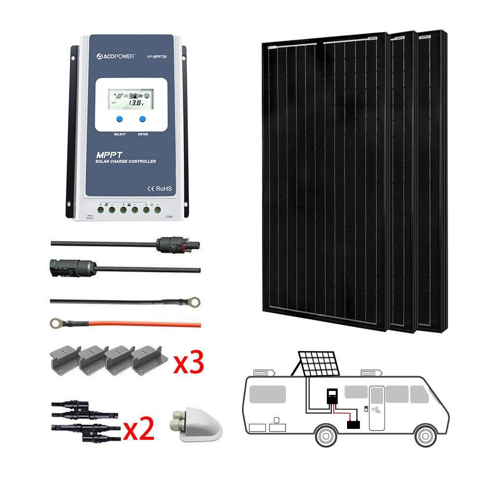 ACOPOWER 300W All Black Mono Solar RV Kits, 30A MPPT Charge Controller