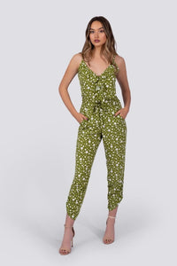 Chloe Jumpsuit | Green Polka Dot