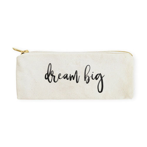 Dream Big Cotton Canvas Pencil Case and Travel Pouch