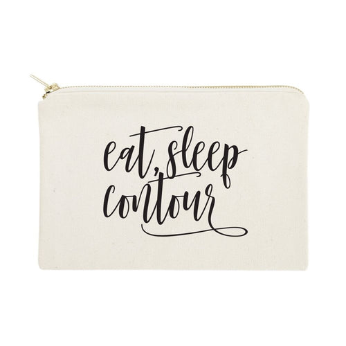 Eat, Sleep, Contour Cotton Canvas Cosmetic Bag