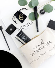Load image into Gallery viewer, I Need Vitamin Sea Cotton Canvas Cosmetic Bag