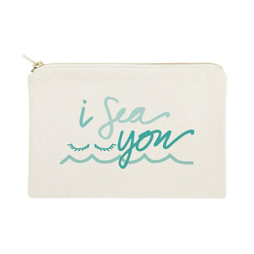 I Sea You Cotton Canvas Cosmetic Bag