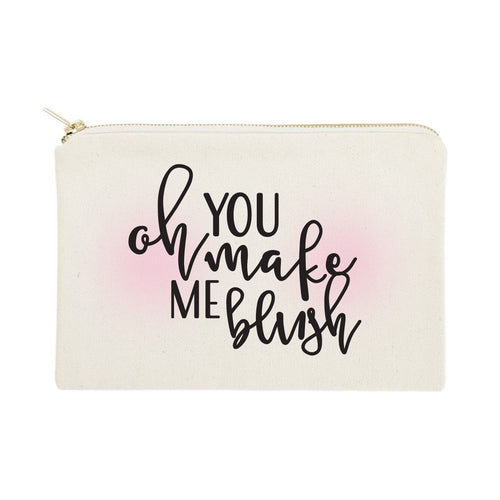 Oh You Make Me Blush Cotton Canvas Cosmetic Bag