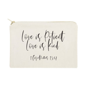 Love is Patient Love is Kind Cotton Canvas Cosmetic Bag