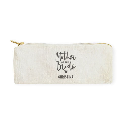 Mother of the Bride Personalized Cotton Canvas Pencil Case and Travel Pouch