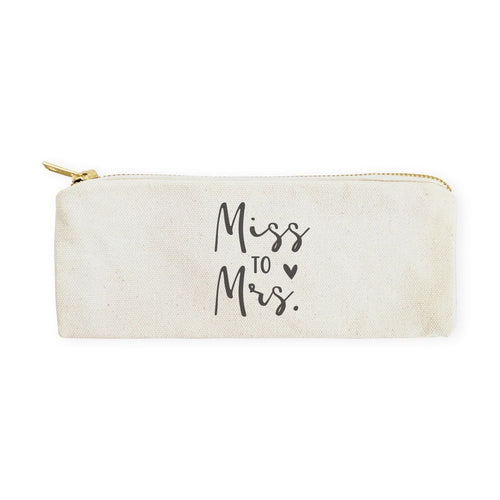 Miss to Mrs. Cotton Canvas Pencil Case and Travel Pouch