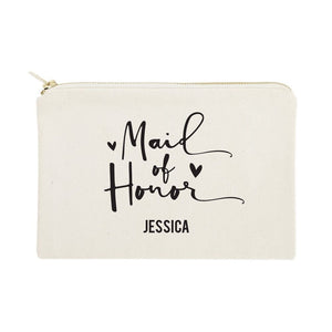 Personalized Maid of Honor Cotton Canvas Cosmetic Bag